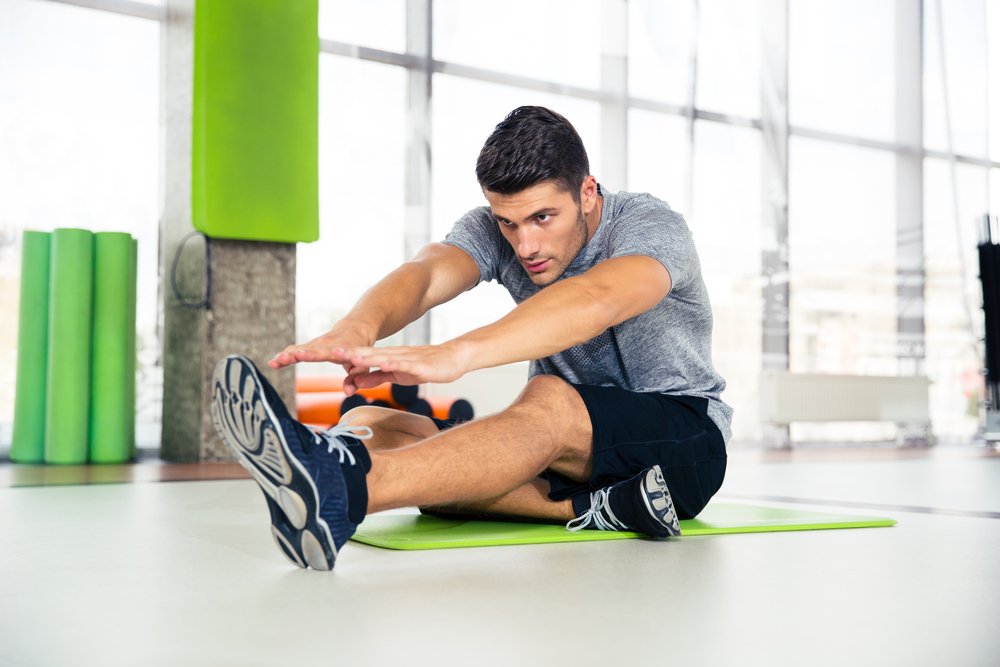 man exercising indoors