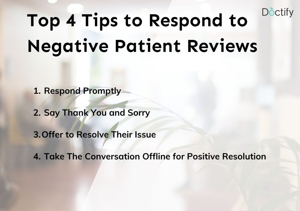 top tips on how to respond to negative patient reviews